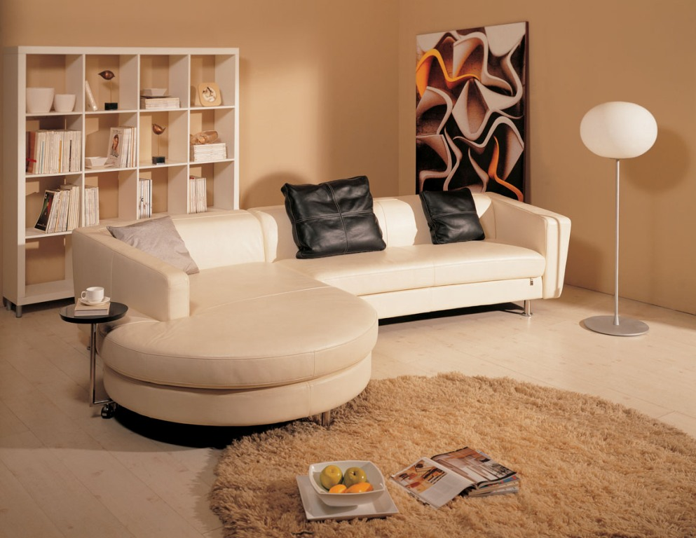 Кожаный кофейный диван