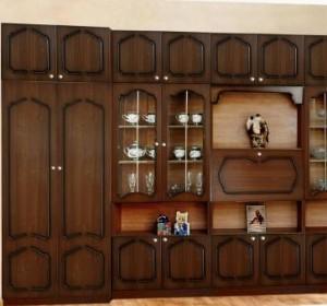 gostinnie stenki 300x280 Ошибки в дизайне   Мебель, выставленная вдоль стен